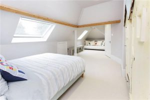 Bedroom with skylight home renovation