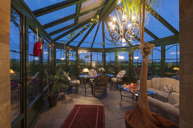 conservatory in the evening